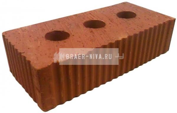 Кирпич строительный полнотелый с тех.пустотами полуторный М-200 рифленый Каширский кирпич