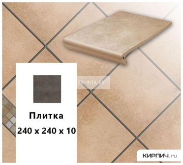 Клинкерная напольная плитка Stroeher KERAPLATTE AERA 750 rubeo, 240х240х10