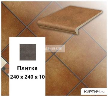 Клинкерная напольная плитка Stroeher KERAPLATTE ROCCIA 841 rosso, 240х240х10
