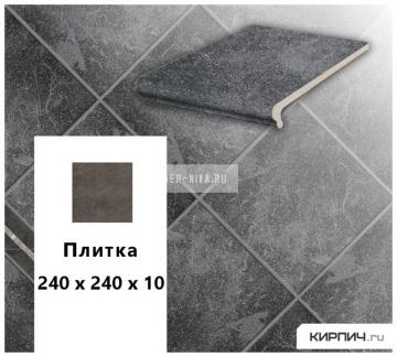 Клинкерная напольная плитка Stroeher KERAPLATTE ROCCIA 845 nero, 240х240х10