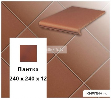 Клинкерная напольная плитка Stroeher KERAPLATTE TERRA 215 patrizierrot, 240х240х12