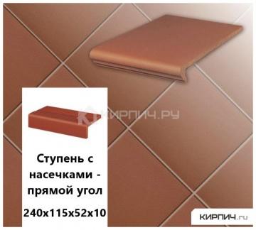 Клинкерная плитка для ступени с насечкой Stroeher KERAPLATTE TERRA 215 patrizierrot, 240х115х52х10