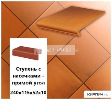 Клинкерная плитка для ступени с насечкой Stroeher KERAPLATTE TERRA 307 weizengelb , 240х115х52х10