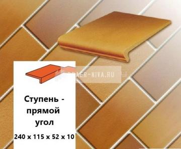 Клинкерная ступень прямоугольная Euramic CLASSICS E 305 puma, 240х115х52х10