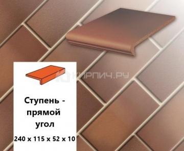Клинкерная ступень прямоугольная Euramic CLASSICS E 345 naturrot bunt, 240х115х52х10