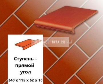Клинкерная ступень прямоугольная Euramic CLASSICS E 361 naturrot, 240х115х52х10