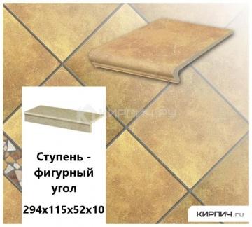 Клинкерная ступень прямоугольная Stroeher KERAPLATTE ROCCIA 834 giallo, 294x175x52x10