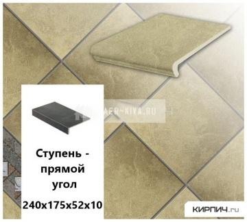 Клинкерная ступень прямоугольная Stroeher KERAPLATTE ROCCIA 835 sandos, 240х175х52х10