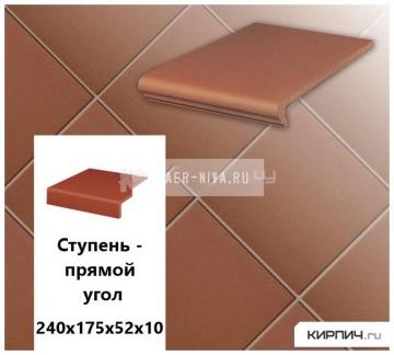 Клинкерная ступень прямоугольная Stroeher KERAPLATTE TERRA 215 patrizierrot , 240х175х52х10