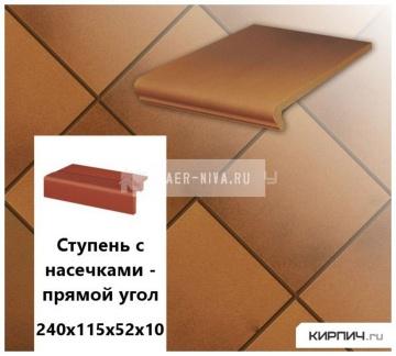 Клинкерная ступень прямоугольная Stroeher KERAPLATTE TERRA 313 herbsfarben, 240х115х52х10