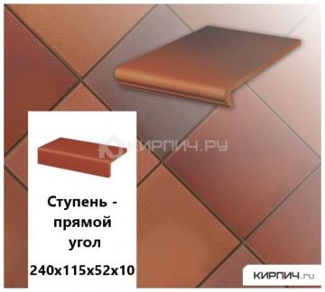 Клинкерная ступень прямоугольная Stroeher KERAPLATTE TERRA 316 patrizierrot ofenbunt, 240х115х52х10