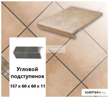 Клинкерный угловой подступенок Stroeher KERAPLATTE AERA 750 rubeo, 157х60х60х11