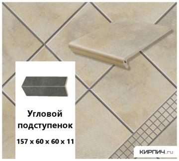 Клинкерный угловой подступенок Stroeher KERAPLATTE AERA T 721 roule, 157х60х60х11
