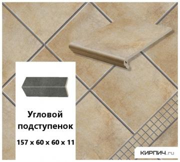Клинкерный угловой подступенок Stroeher KERAPLATTE AERA T 727 pinar , 157х60х60х11