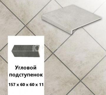 Клинкерный угловой подступенок Stroeher KERAPLATTE ASAR 620 Sass, 157х60х60х11