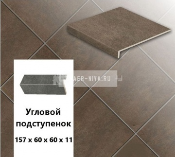 Клинкерный угловой подступенок Stroeher KERAPLATTE ASAR 640 maro , 157х60х60х11