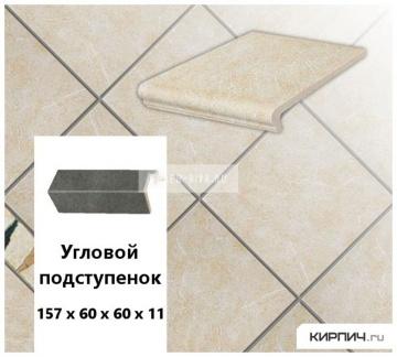 Клинкерный угловой подступенок Stroeher KERAPLATTE ROCCIA 833 corda, 157х60х60х11