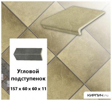 Клинкерный угловой подступенок Stroeher KERAPLATTE ROCCIA 835 sandos, 157х60х60х11