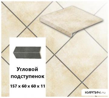 Клинкерный угловой подступенок Stroeher KERAPLATTE ROCCIA X 920 weizenschnee, 157х60х60х11