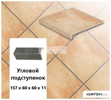 Клинкерный угловой подступенок Stroeher KERAPLATTE ROCCIA X 927 rosenglut, 157х60х60х11