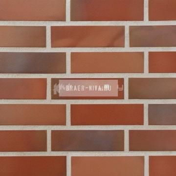 Плитка фасадная клинкерная Stroeher KERAVETTE CHROMATIC и FLAME E 345 naturrot bunt гладкая неглазурованная NF11, 240x71x11