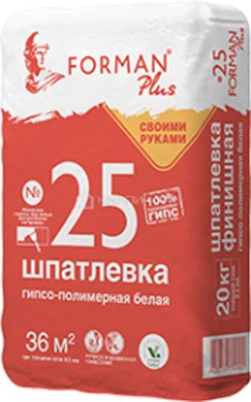 Шпатлевка гипсо-полимерная финишная Forman 25 белая, 20 кг