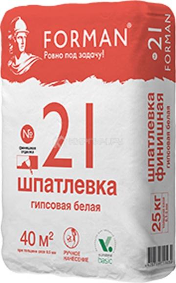 Шпатлевка гипсовая финишная Forman 21 белая, 25 кг