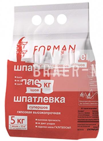 Шпатлевка гипсовая высокопрочная супершов Forman 23 белая, 5 кг