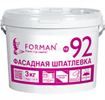 Шпатлевка готовая для фасадных работ Forman 92 белая, 3 кг