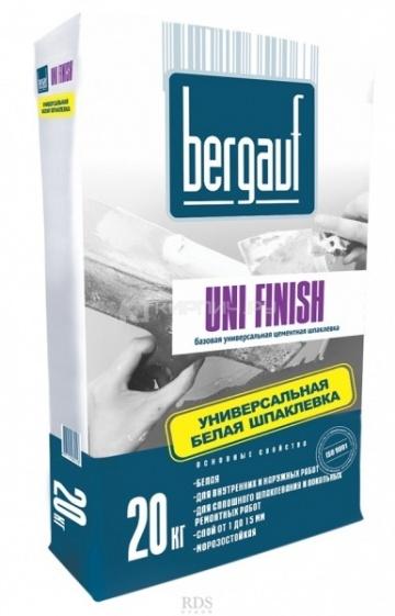 Шпатлёвка цементная базовая Bergauf UNI FINISH белая 20 кг