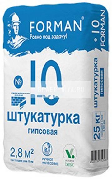 Штукатурка гипсовая ручного нанесения FORMAN №10 белый 25 кг