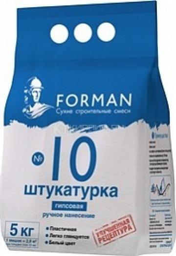 Штукатурка гипсовая ручного нанесения FORMAN №10 белый 5 кг