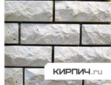 Силикатный кирпич белый полуторный рустированный тычок КЗСК