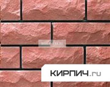 Силикатный кирпич розовый одинарный рустированный ложок КЗСК