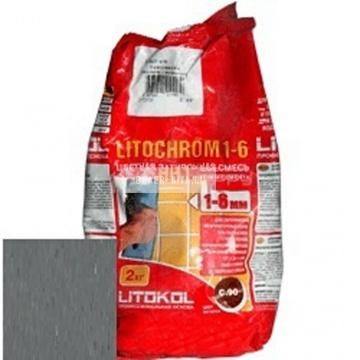 Затирка цементная Litokol Litochrom 1-6 C.40 антрацит 2 кг